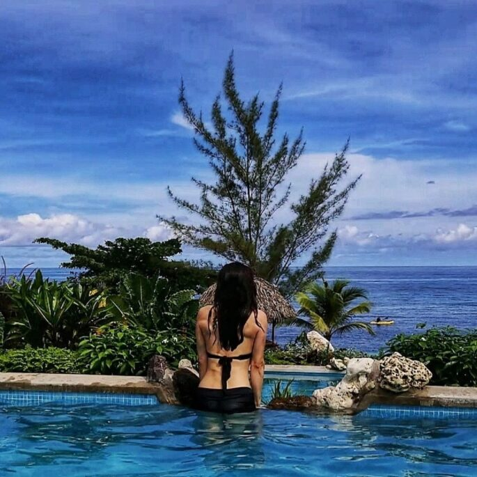 pool side with bianca te rito wellbeing lifestyle 1